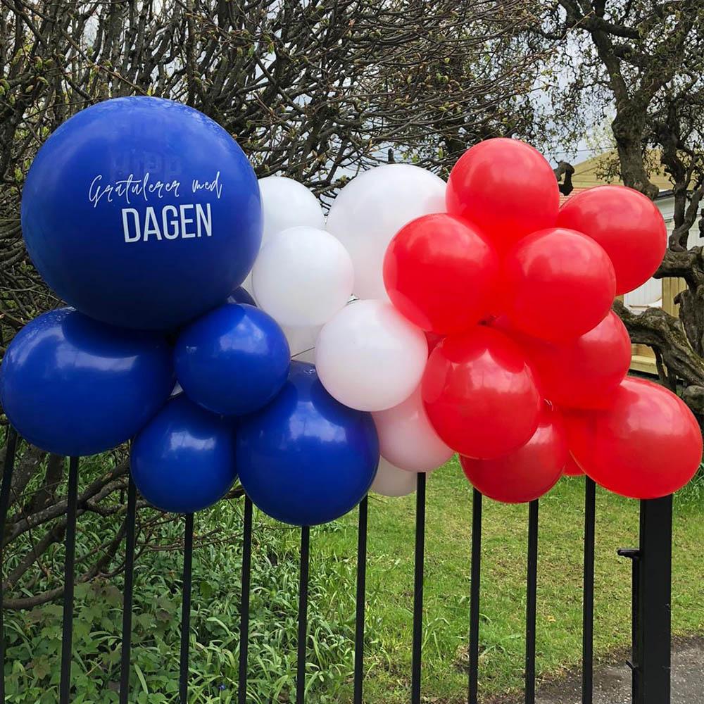 Ballonggirlander til 17. Mai - ferdig oppblåst
