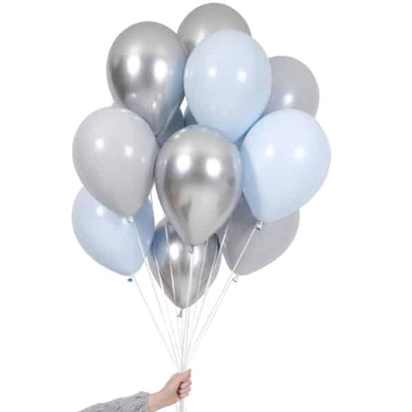 Ballongbukett DOUBLE lyseblå shimmer