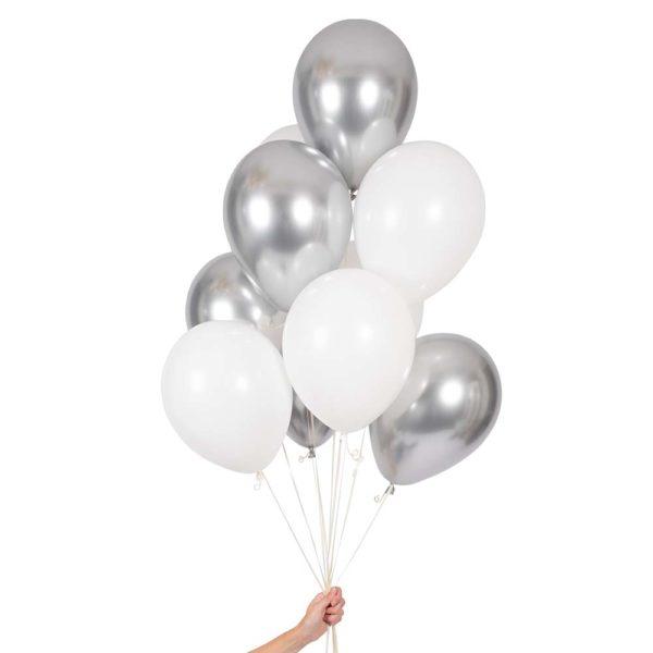Ballongbukett Hvitt & Sølv