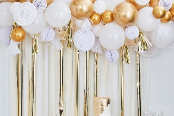 Ballonggirlander Hvit og gull